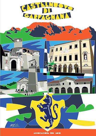 """Manifesto """"Città di Castelnuovo di Garfagnana"""", opera del Maestro Ugo Nespolo"""